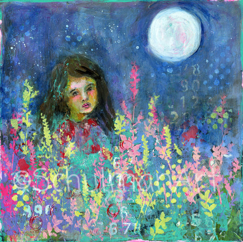 Moon Child, Original Mixed Media Art 12x12""