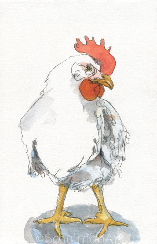 Mother Hen, Original Watercolor Art