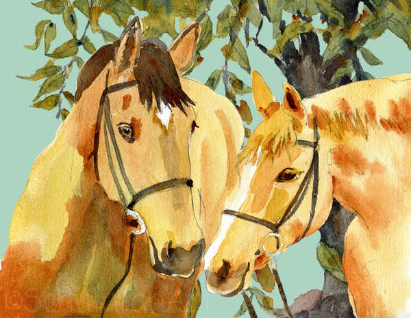 Watercolor Horses, Fine Art Print | Horse Art | Horse Watercolor Painting | Animal Art