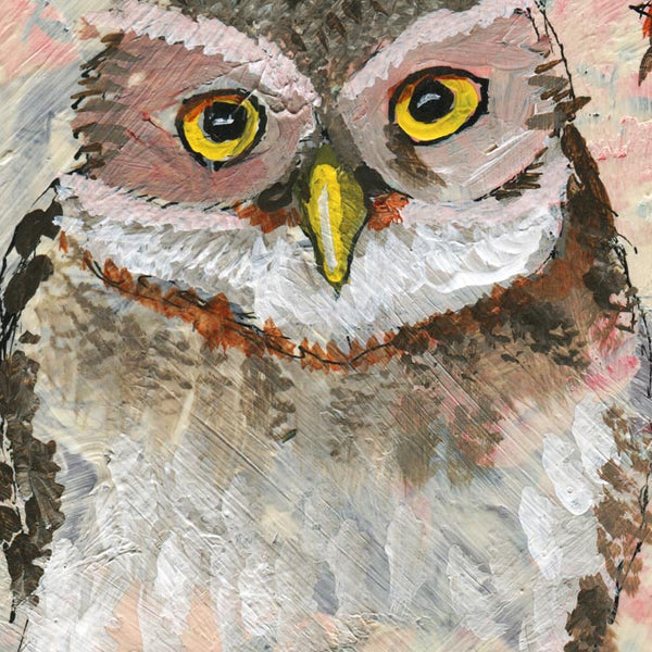 #03 Owls | Original Mixed Media Art on Canvas