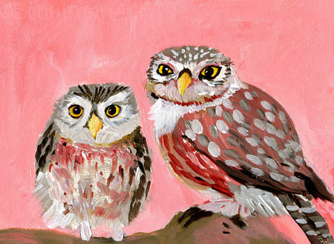 #23 Owls on pink background | Original Mixed Media Art