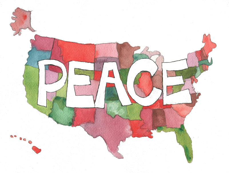 """Peace Out USA"", Original Watercolor Art 