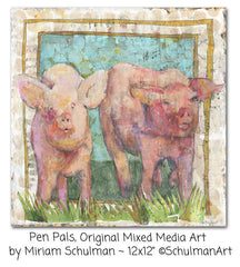 Pen Pals, Original Mixed Media Art