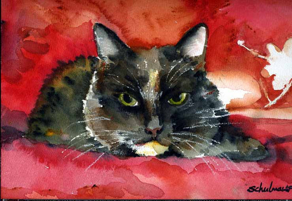Custom Watercolor Cat Portrait