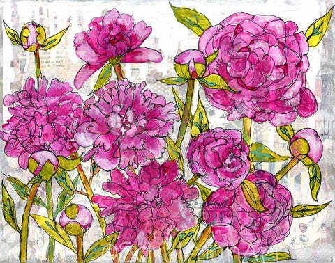 Peony Garden, Original Mixed Media Art