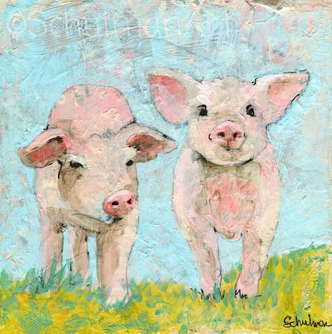 #04 Pigs | Original Mixed Media Art on Canvas
