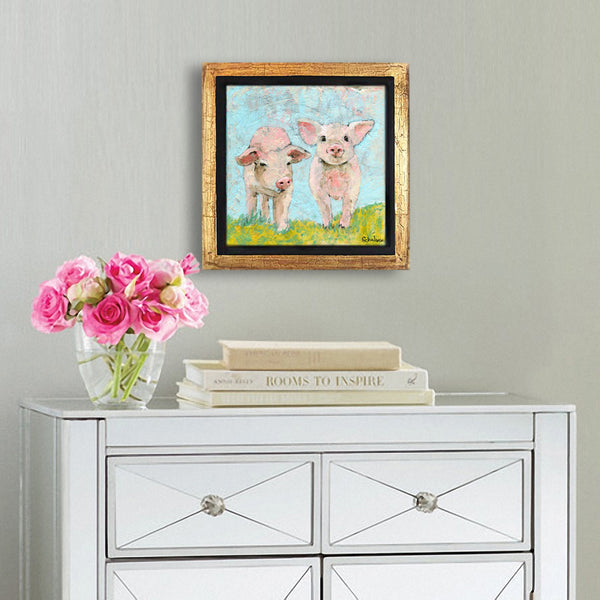 Prancing Pigs | Pig Painting | Original Mixed Media Art on Canvas