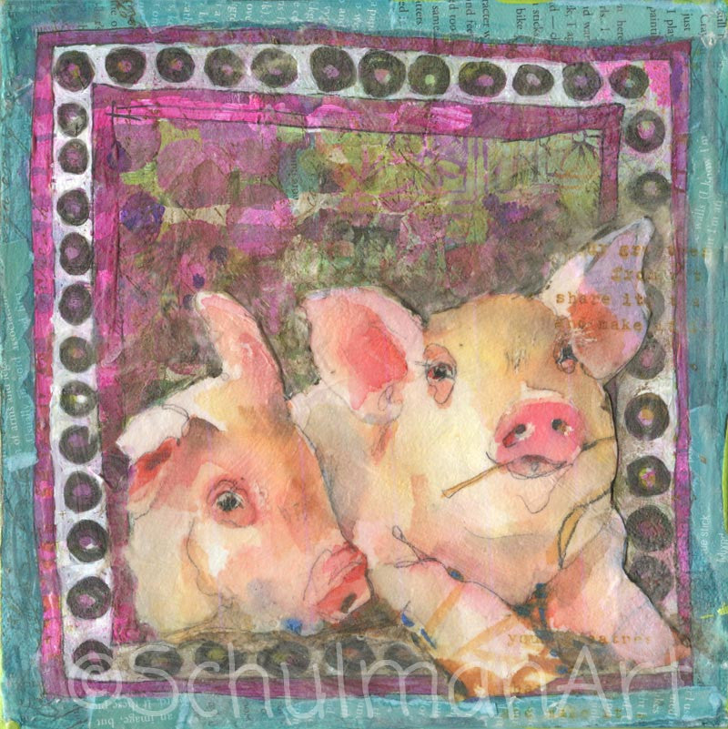 The Pig's Tale, Original Mixed Media Art