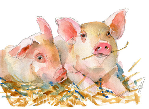 Pig Passion, Original Watercolor Art