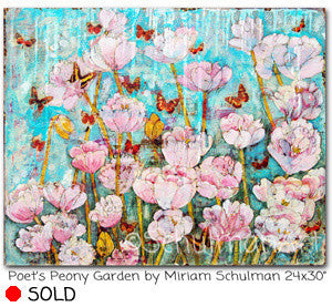 Poet's Peony Garden, Original Mixed Media