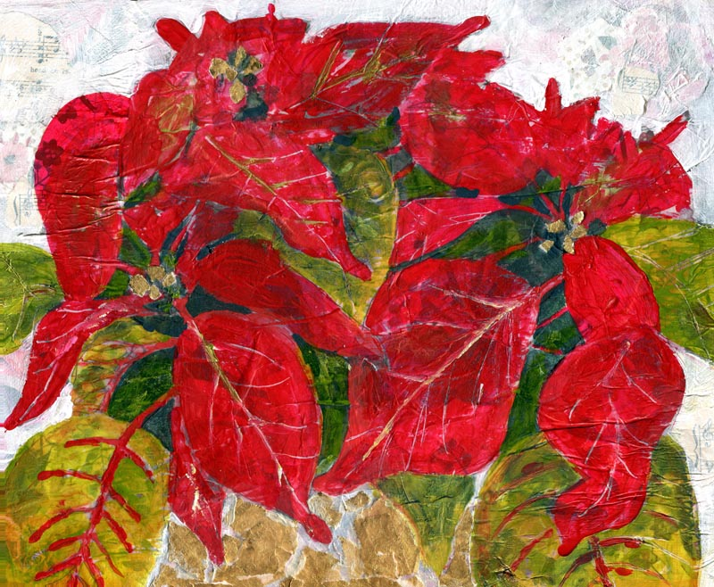 Poinsettia Gold, Original Mixed Media Art