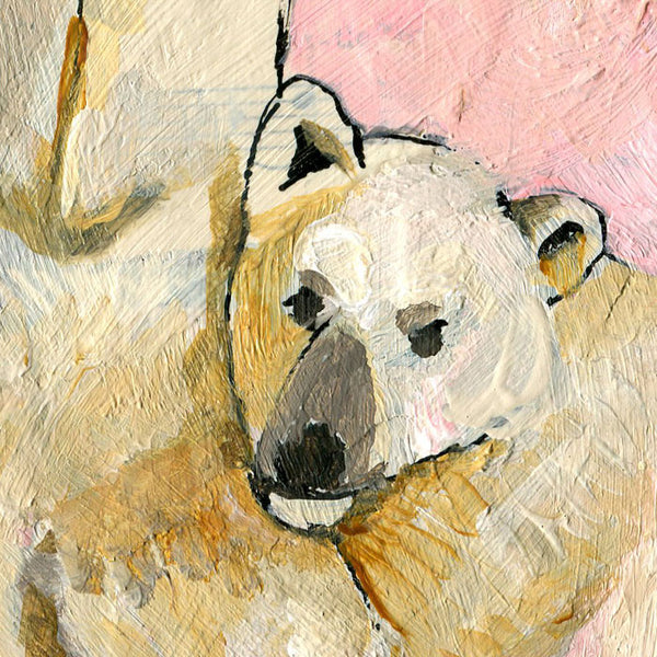 #02 Polar Bears pink background | Original Mixed Media Art on Canvas