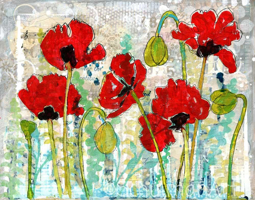 Poppy Garden, Original Mixed Media Art | red poppy art