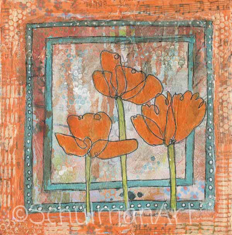 Positively Poppies, Original Mixed Media Art