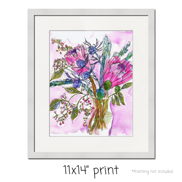 Tropical Treats, Fine Art Print | Tropical Floral Art | Tropical Watercolor Decor | Tropical Flowers | Protea