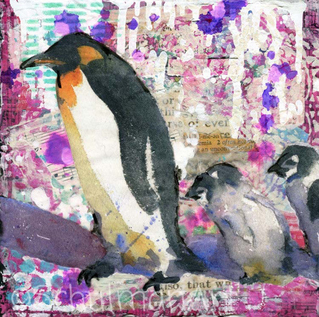Purple Penguin Party, Original Mixed Media Art