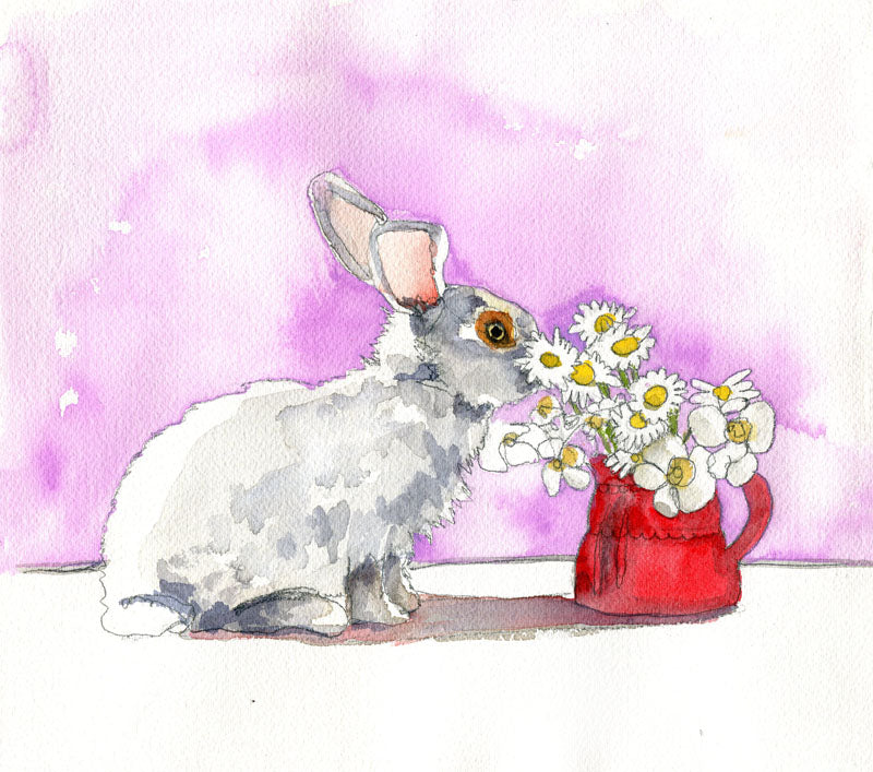 "Rabbit art | Bunny Art | ""Fresh as a Daisy"", Original Watercolor Art"