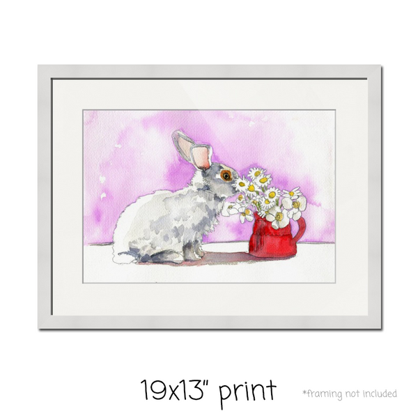 Fresh as a Daisy, Fine Art Print | Rabbit Art | Rabbit Watercolor Painting | Animal Art