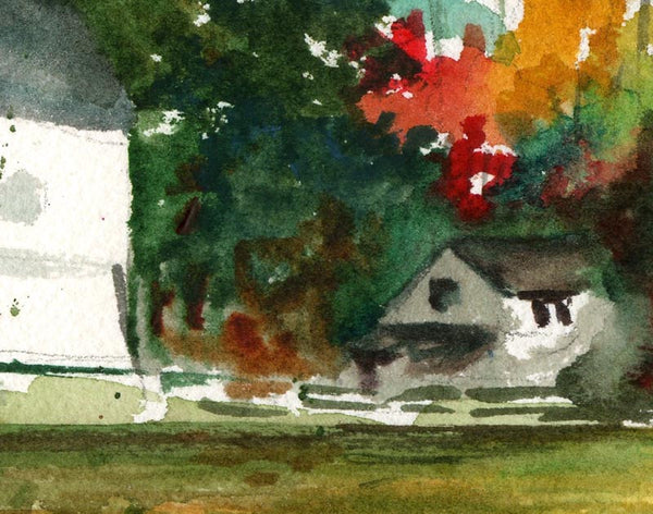Salem Barn | Fine Art Print | watercolor landscape in autumn