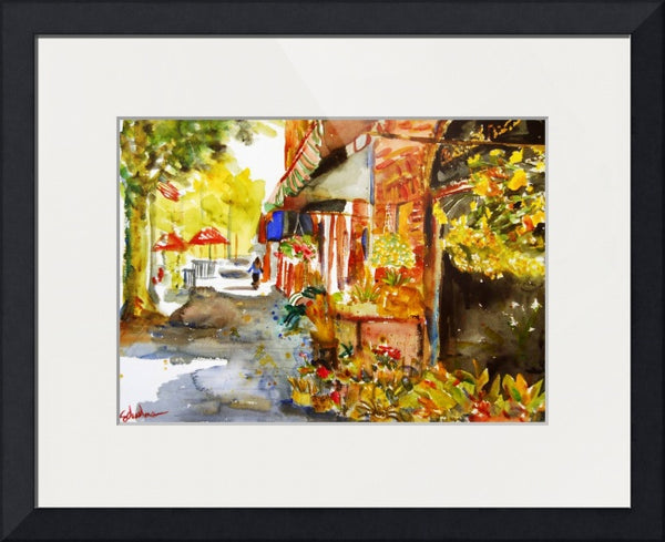 Watercolor Painting of (former) Scarsdale Florist in Scarsdale Village, Fine Art Print