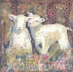 Sisters, Original Mixed Media Art of Sheep
