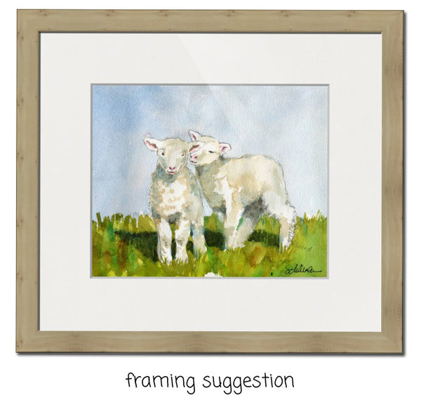 Sibling Sheep, Original Watercolor Art