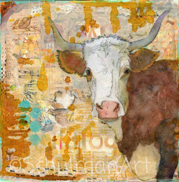 Steer Stare, Original Mixed Media Art