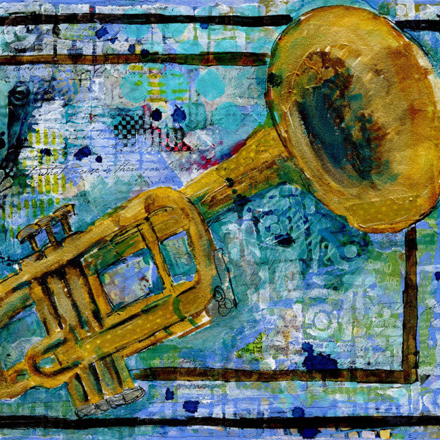 Trumpet Trust, Original Mixed Media Art