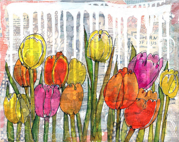 Tulip Garden, Original Mixed Media Art