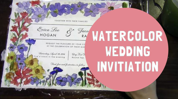 custom Wedding Keepsake Invitation MOUNTED on watercolor paper with watercolor flowers as a Creative Wedding Gift Idea or Keepsake