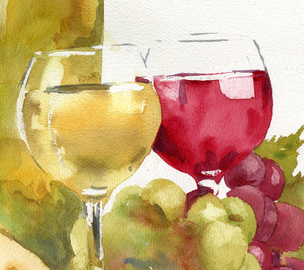 Gratitude Feast | Original Watercolor Art | still life of wine and cheese