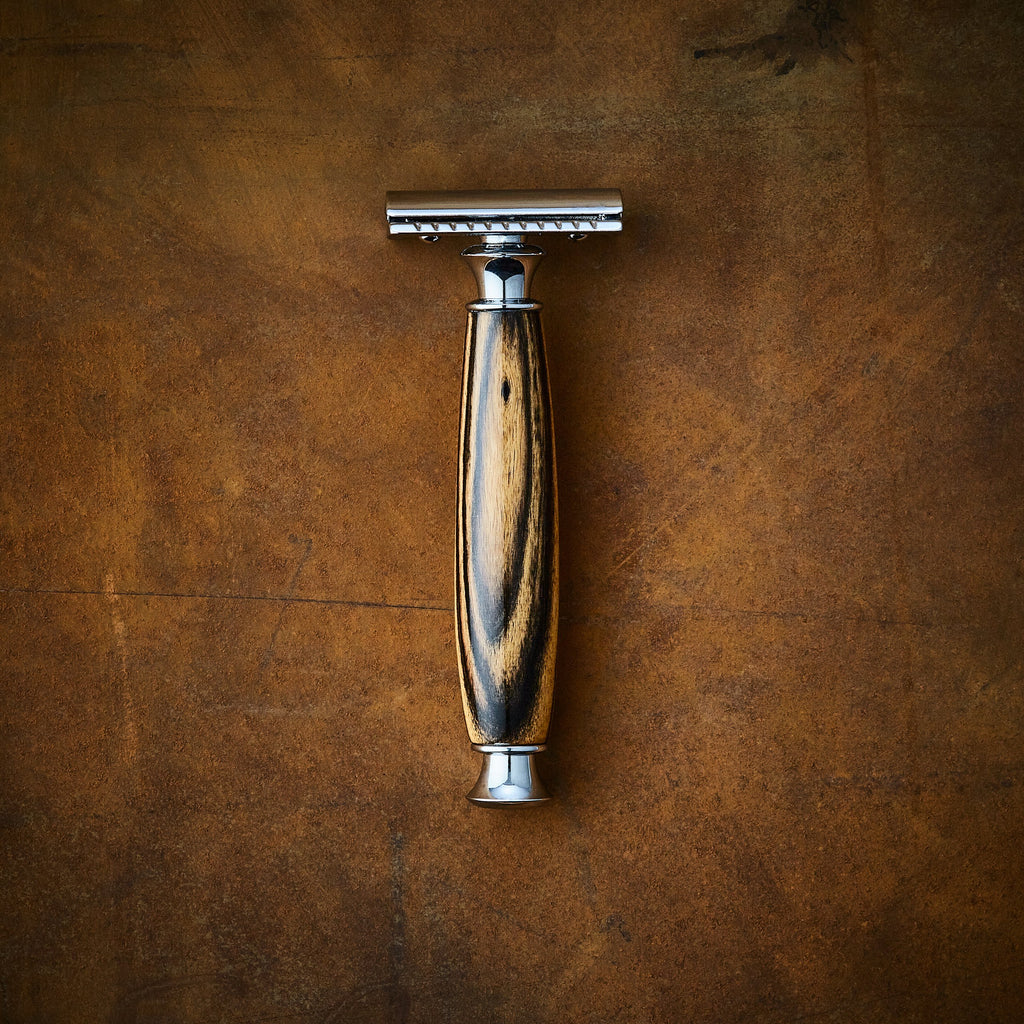 custom razor double edge safety razor in black and white ebony wood