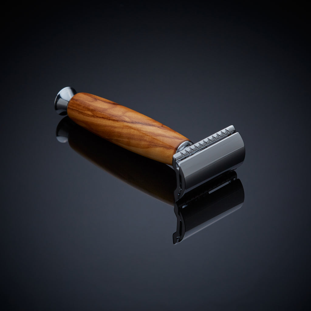 double edge safety razor made from Olive wood