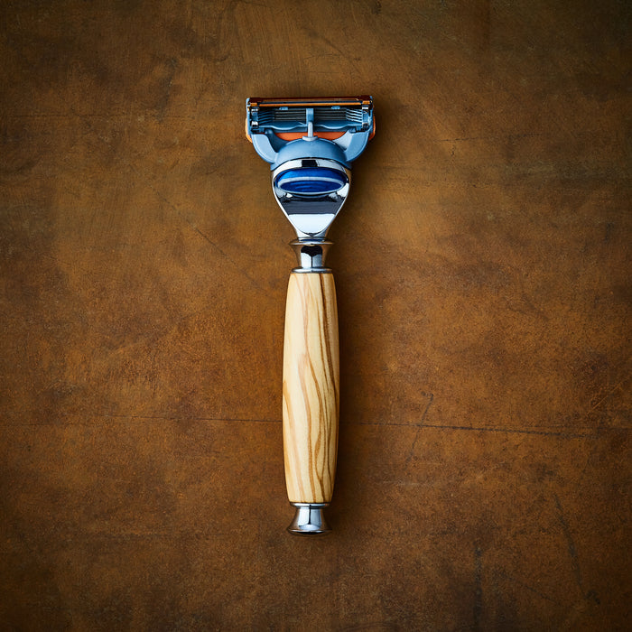 Handmade razor for Gillette Fusion in Olive wood