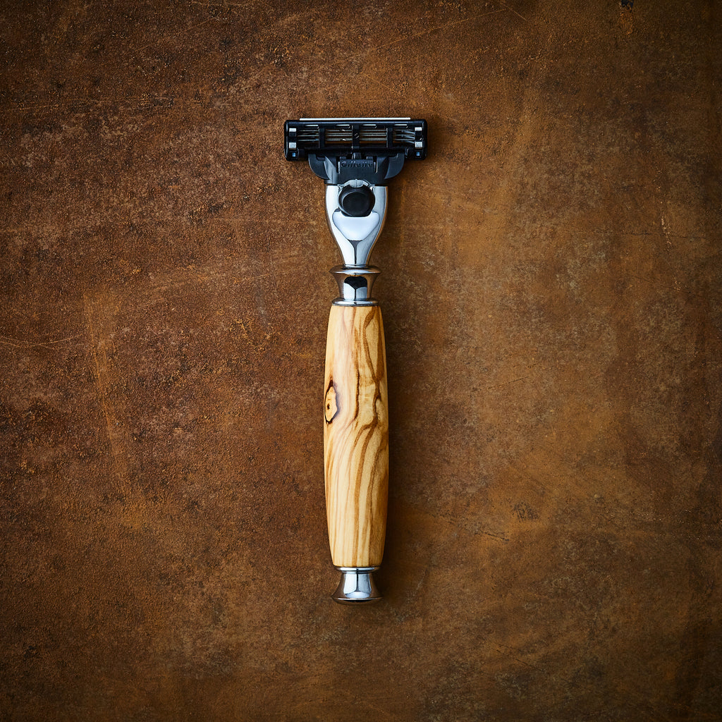 Wooden razor in Olive wood for Gillette mach 3 and Venus