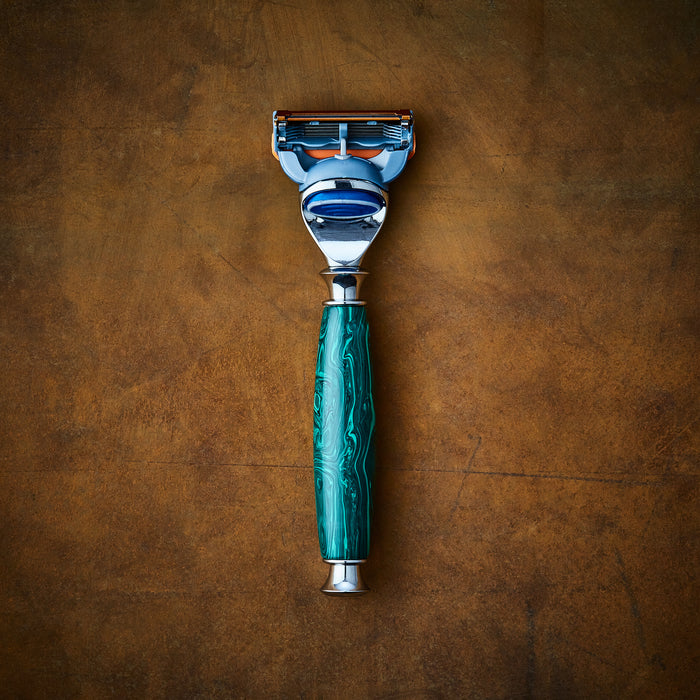 Handmade razor for Gillette Fusion made from precious malachite stone