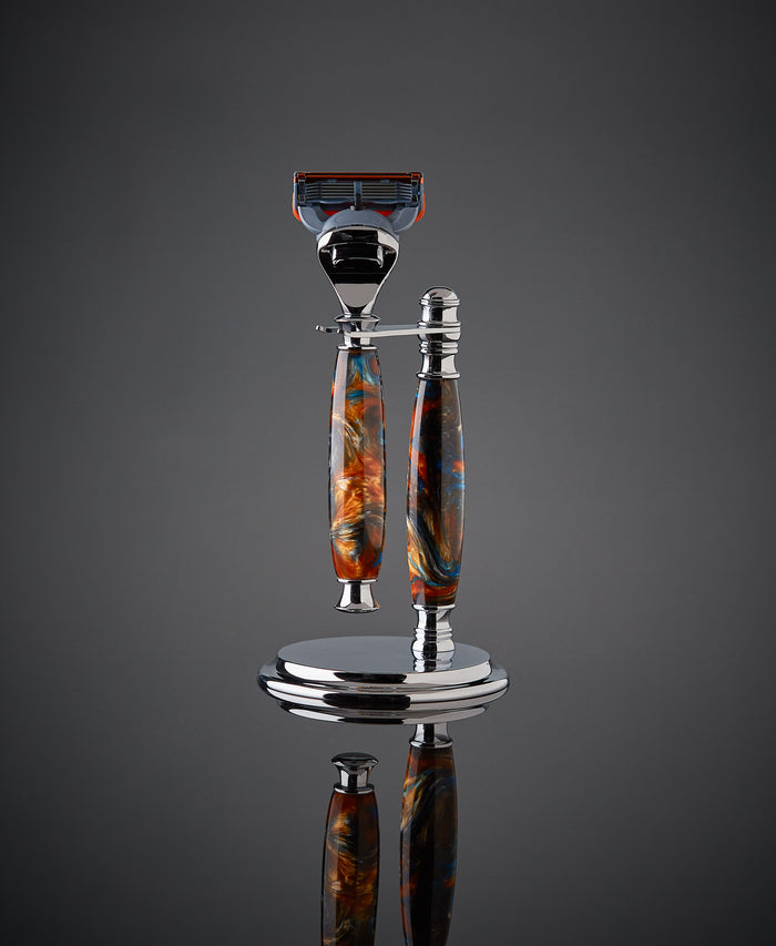 Shaving set razor and stand for Gillette Fusion. Proudly made in the USA