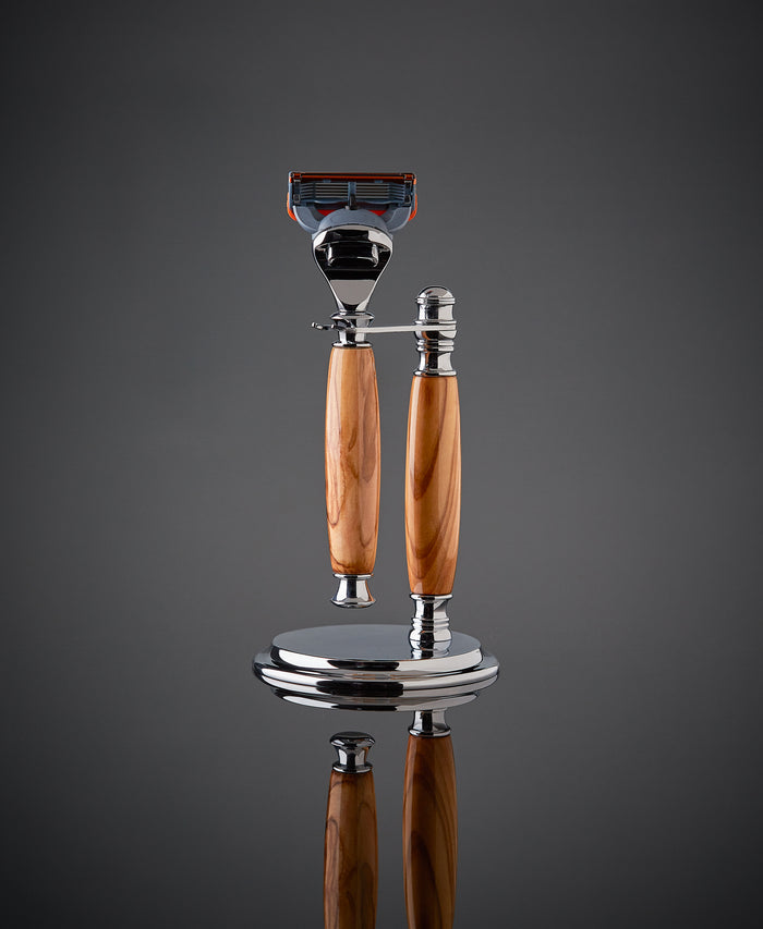 Olive wood shaving set razor and stand for Gillette Fusion. Proudly made in the USA
