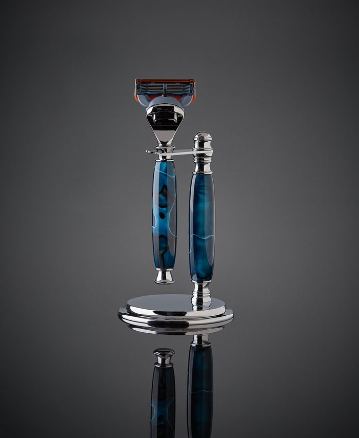 Precious resin shaving kit in aqua blue for Gillette Fusion