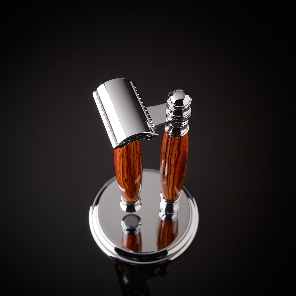 Rosewood shaving set safety razor and stand