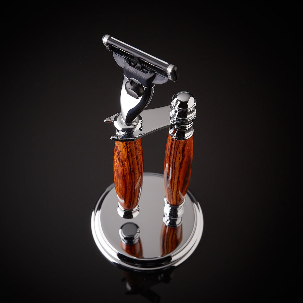 Rosewood shaving set razor and stand for Gillette Mach 3 and Venus