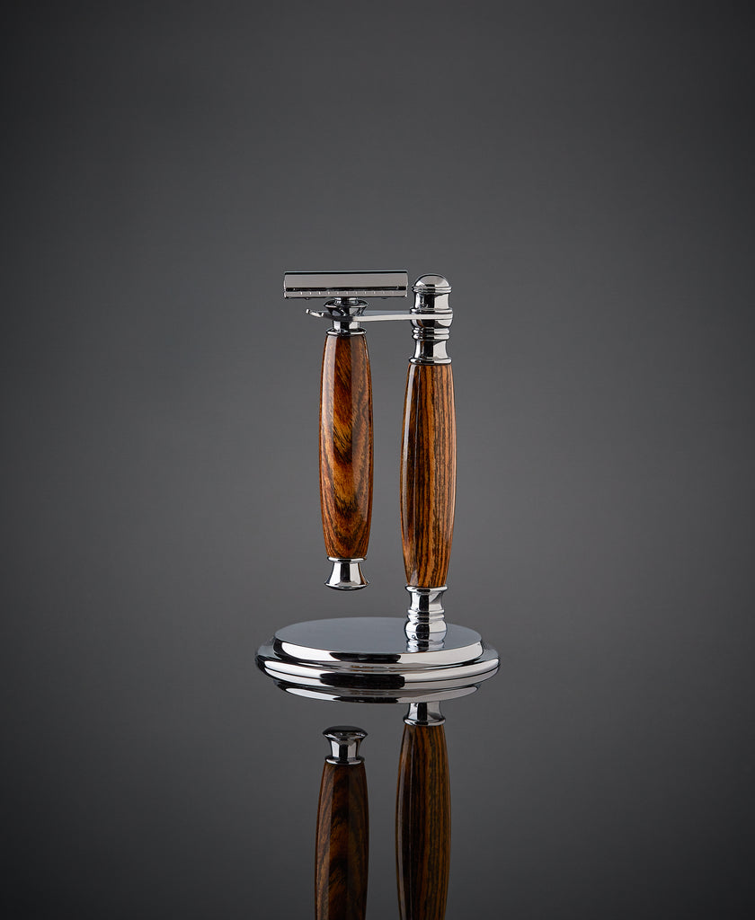 Shaving set razor and stand for safety razor. Proudly made in the USA