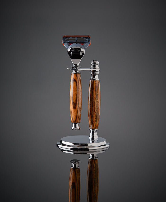 Wooden Shaving set razor and stand for Gillette Fusion Proudly made in the USA