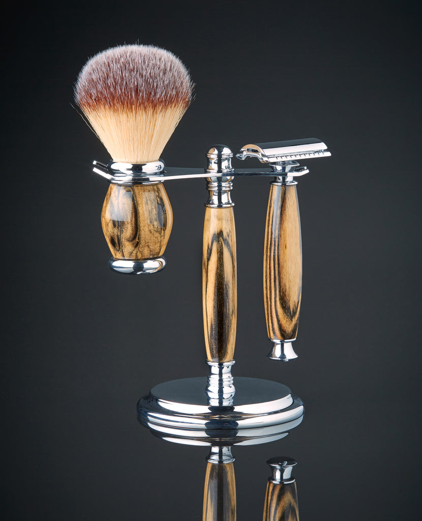 shaving set with matching brush Ebony wood safety razor