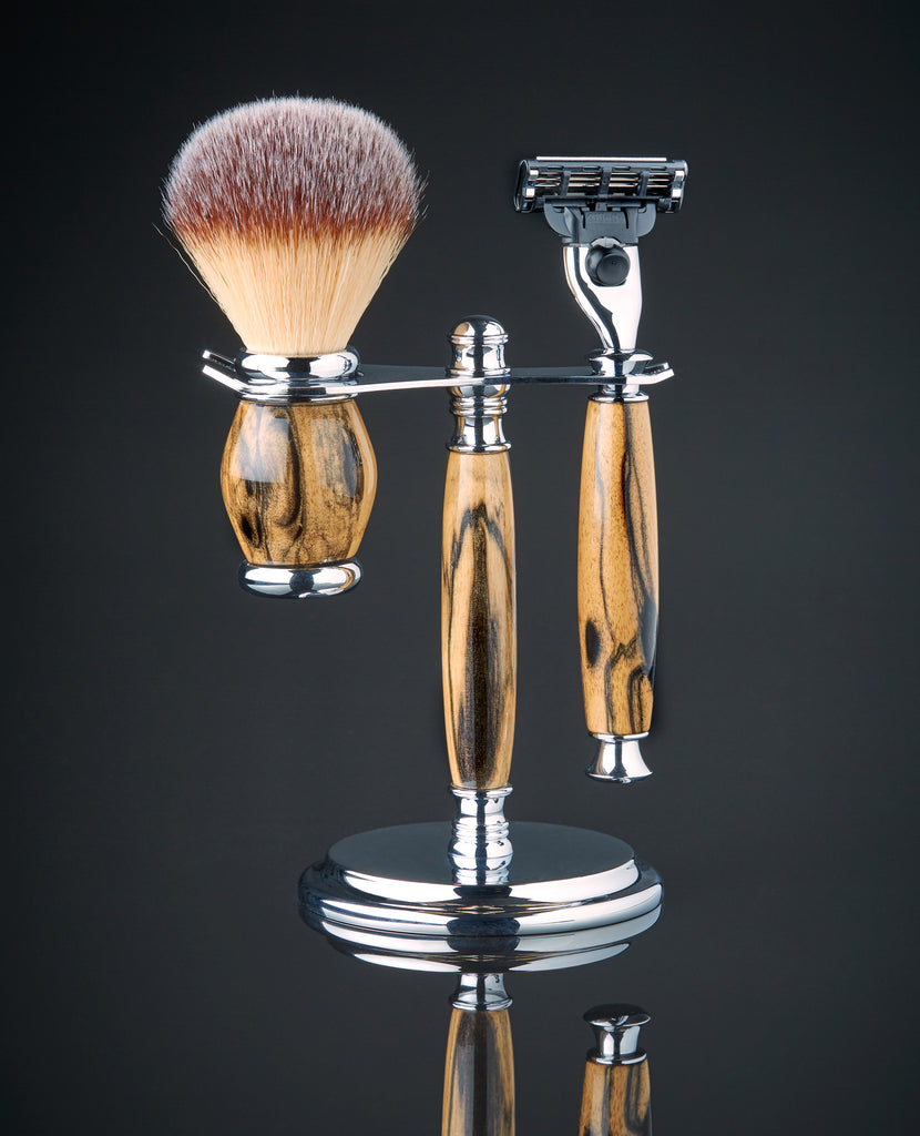 shaving set ebony wood with matching brush Gillette Mach 3