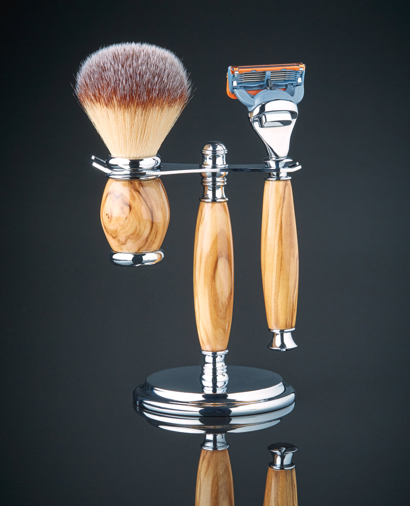 Shaving kit with brush in Olive wood for Gillette fusion
