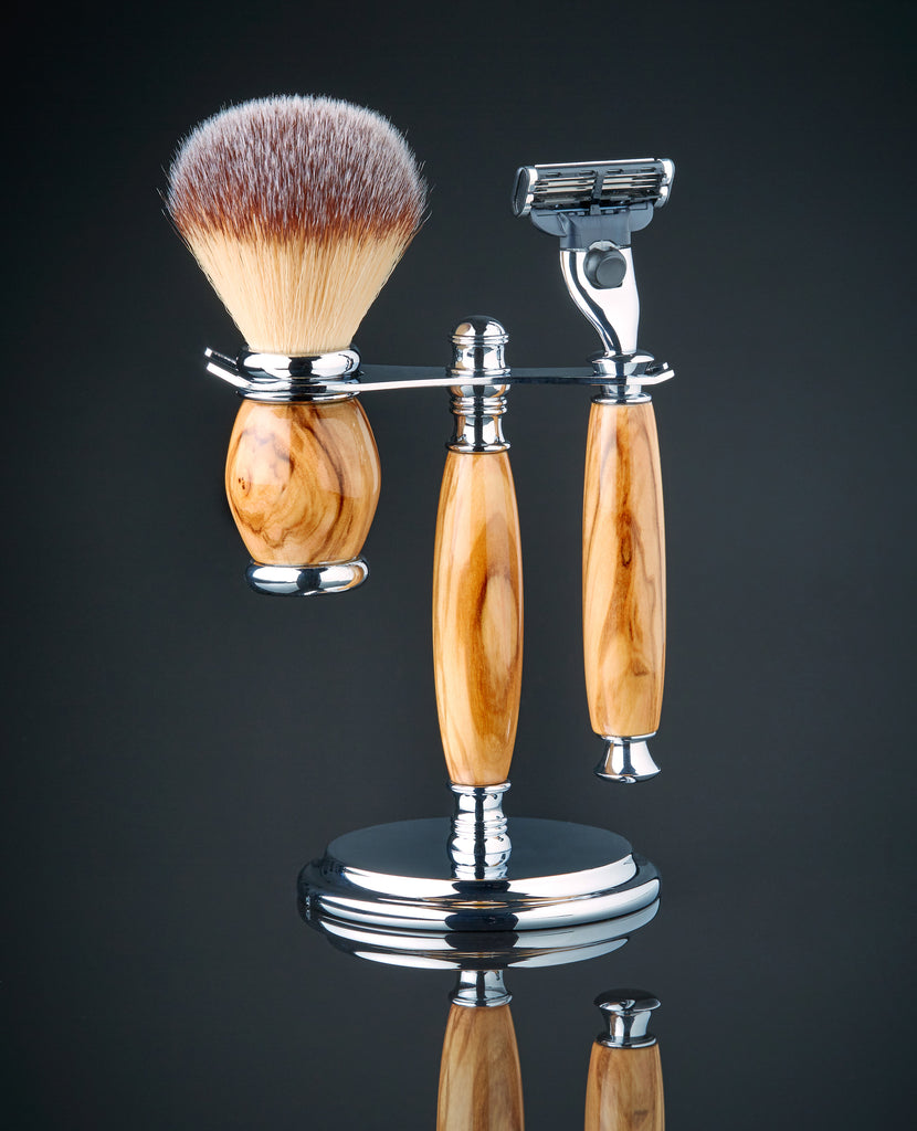Shaving kit with brush in Olive wood for gillette mach 3