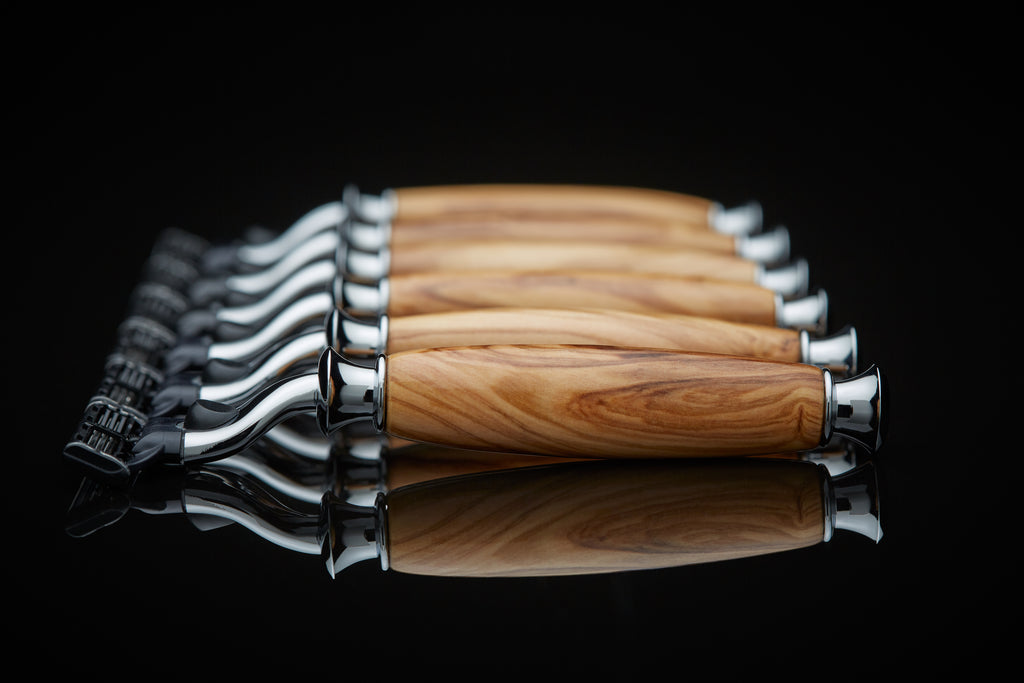 olive wood groomsmen gift set of matching razors