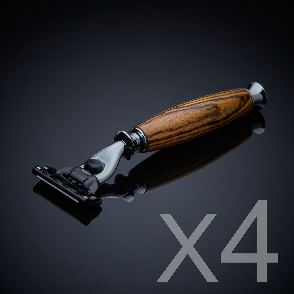 Groomsmen gift set of four wooden razors Gillette Mach 3