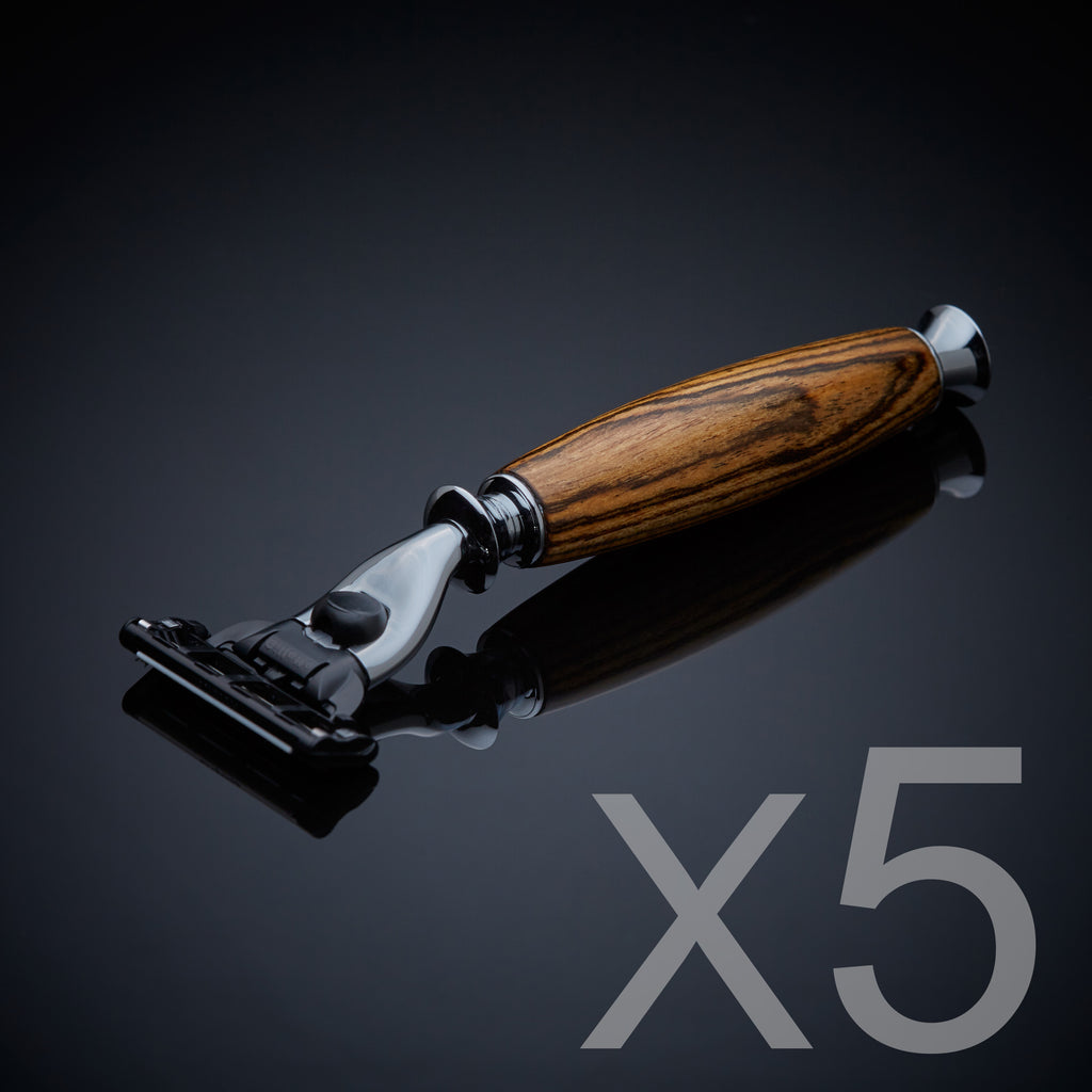 Groomsmen gift set of five wooden razors